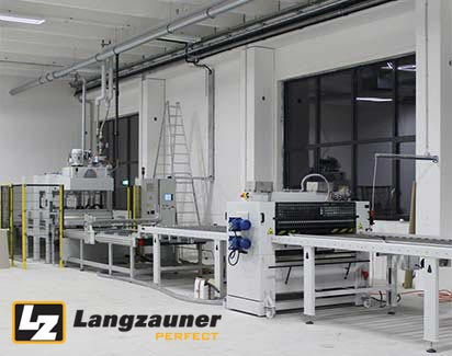through-feed press with gluing machine
