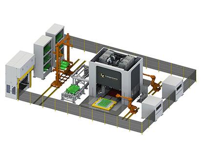 Fertigungslinie Werkzeugshuttlesystem